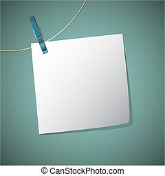Note paper hang on string with clothes pin, vector...