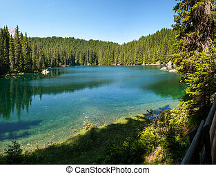 panoramic Carezza lake - overview of Carezza lake in...