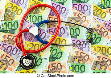 stethoscope and euro notes - stethoscope and euro banknotes...
