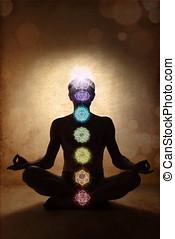 瑜伽, 人, 蓮花, 姿態, chakra