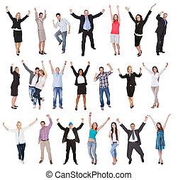 Photos of excited people cheering Isolated on white...