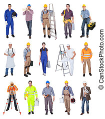Industrial construction workers Isolated on white background...