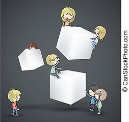 white boxes with kids. Vector desig