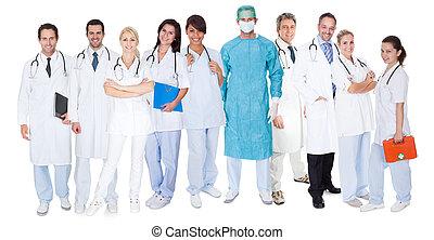 grande, grupo, medicos, enfermeras