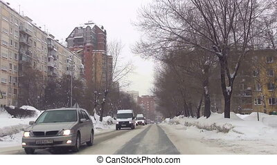 Sreets of Novosibirsk - Front view of city streets out of...