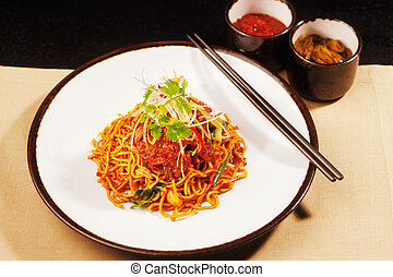 Vegetarian Szechwan noodles - Vegetarian noodles with...