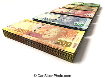 New South African Rand Notes - An assortment of all new...