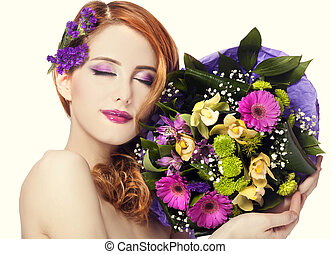 Redhead girl with flowers, isolated
