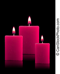 Lighted Christmas Candles - Three Lighted Christmas Candles...