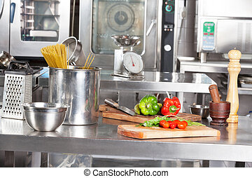 Spaghetti Pasta And Bell Peppers On Kitchen Counter -...