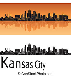 Kansas City skyline in orange background in editable vector...