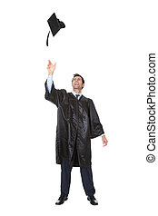 Portrait of happy graduate student cheering Isolated on...