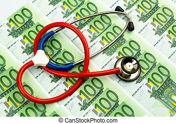 stethoscope and euro notes - stethoscope and euro banknotes....