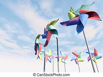Colorful Pinwheels On Blue Sky Perspective - Eight regular...
