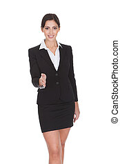 Portrait Of A Young Attractive Business Woman. Isolated On...