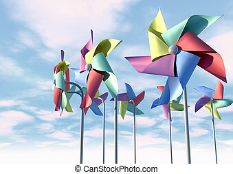 Colorful Pinwheels On Blue Sky Front - Eight regular toy...