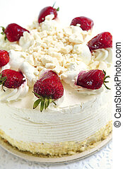 Isolated cake - Whole strawberry meringue cake on white...