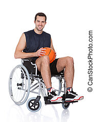 Man in wheelchair playing basketball. Isolated on white