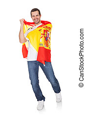 Portrait Of A Happy Man Holding An Spanish Flag. Isolated on...