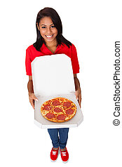 Young Woman With A Whole Pizza. Isolated On White