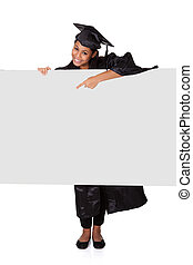Graduate Woman Holding Placard. Isolated On White