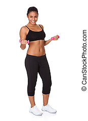 Happy Fitness Woman With Pink Dumbbells
