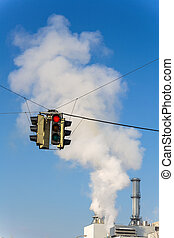 industrial chimney and red lights - chimney of an industrial...
