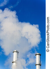 industry chimney with exhaust gases - chimney smoke a wake...