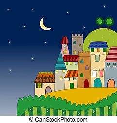 Night view of the city on hill
