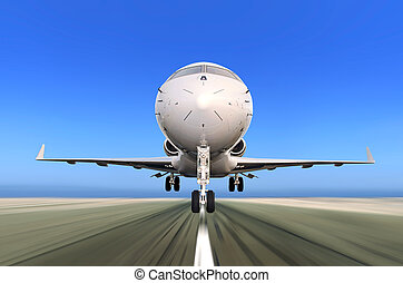 Jet Plane Taking off with Motion Blur - Front of Private Jet...