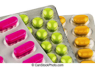 colorful tablets in blister packs, icon photo for medicine...