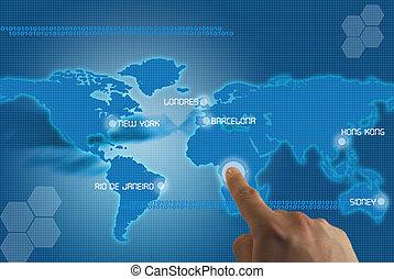 pantalla tactil del planeta tierra con ciudades del mundo...