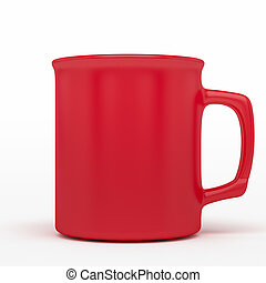 red coffee mug - isolated blank red coffee mark, to put a...