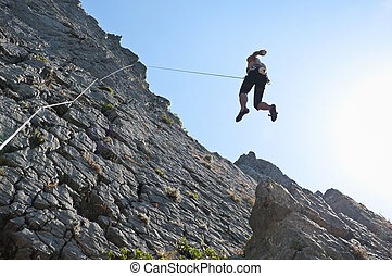 Climbing on limestone - Descending from climbing on...