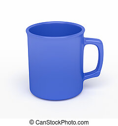 blue coffee mug - isolated blank blue coffee mark, to put a...
