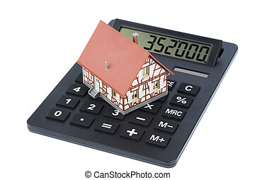 building on calculator - house on a calculator, photo icon...