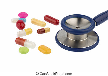 colorful tablets a stethoscope - colorful tablets and a...