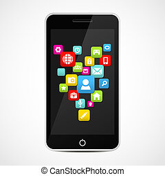 Smart Phone With Social media icons Vector illustration