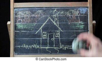eraser on blackboard