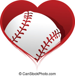 Heart with a Baseball Inside - Vector illustration of a...