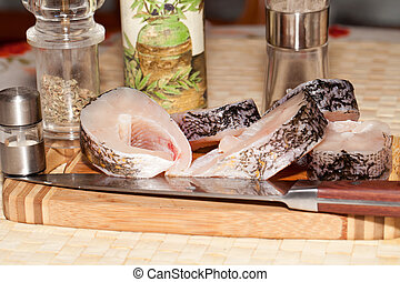 Piece of fresh raw fish. The healthy diet.
