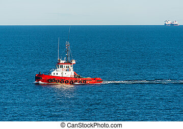 Tugboat at sea - A tug boat at Skagerrak sea