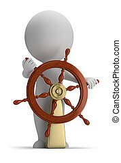 3d small people - helm - 3d small person at the helm. 3d...
