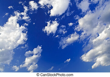 Blue sky with white clouds - Background of blue sky with...