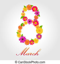 Womens Day Design - 8 March, Postcard With Color Flowers...