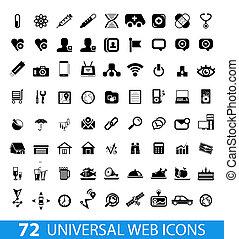 Set of 72 universal web icons isolated on white