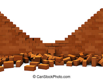 broken wall - 3d illustration of broken brick wall, over...