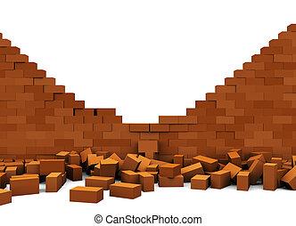 broken wall - 3d illustration of broken brick wall, over...