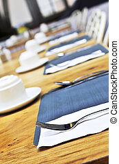 Table setting in a restaurant close up