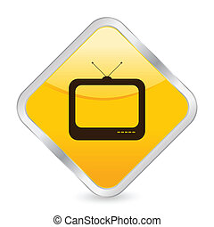 tv yellow square icon - Yellow square icon isolated on a...